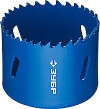 Коронка биметаллическая, быстрорежущая сталь, глубина сверления до 38мм, d-57мм, ЗУБР