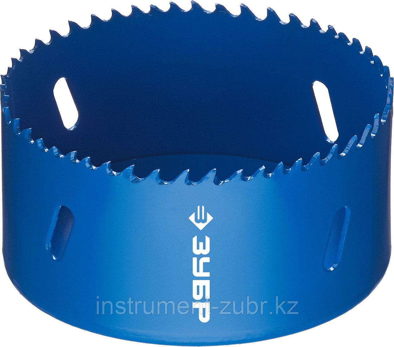 Коронка биметаллическая, быстрорежущая сталь, глубина сверления до 38мм, d-89мм, ЗУБР
