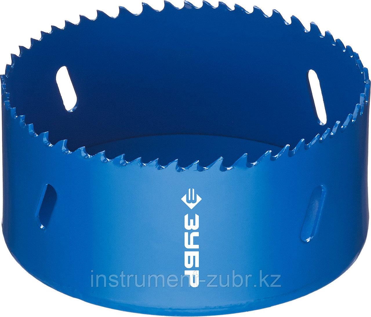 Коронка биметаллическая, быстрорежущая сталь, глубина сверления до 38мм, d-95мм, ЗУБР