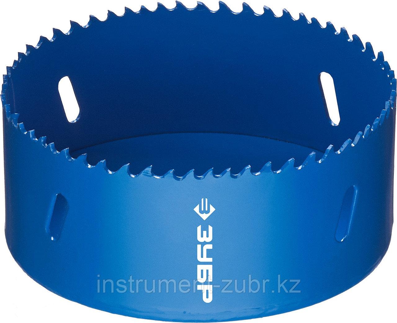 Коронка биметаллическая, быстрорежущая сталь, глубина сверления до 38мм, d-102мм, ЗУБР