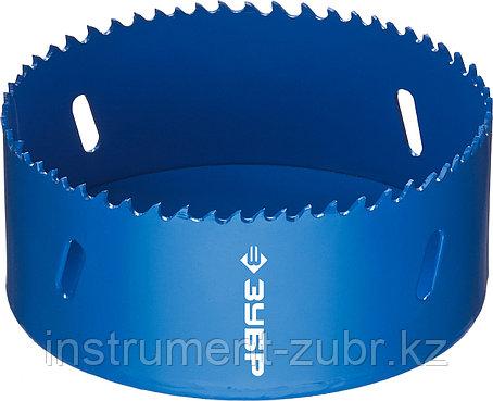 Коронка биметаллическая, быстрорежущая сталь, глубина сверления до 38мм, d-102мм, ЗУБР, фото 2