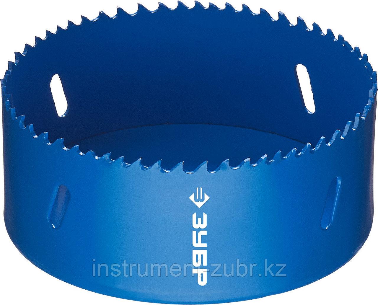 Коронка биметаллическая, быстрорежущая сталь, глубина сверления до 38мм, d-105мм, ЗУБР