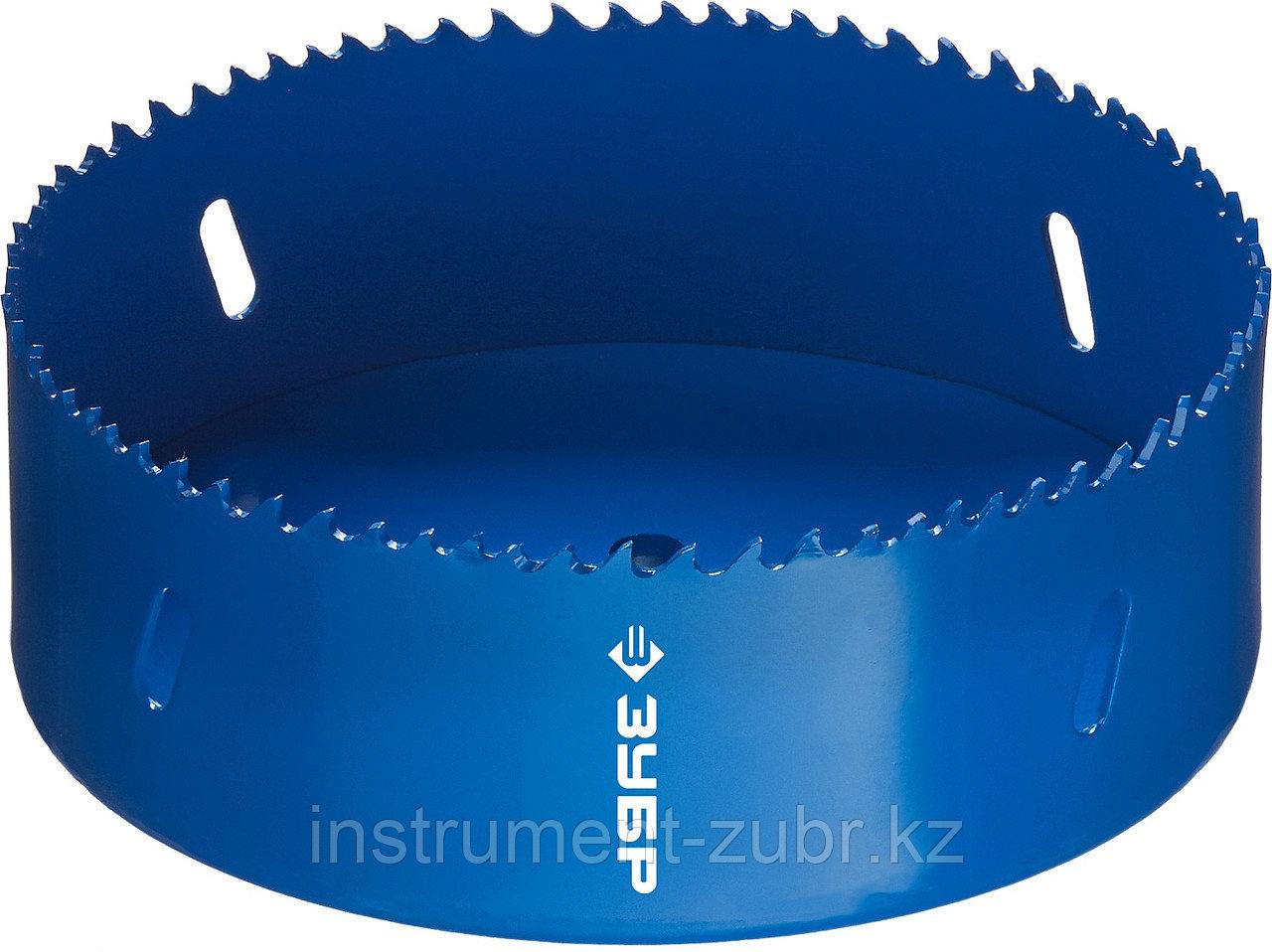 Коронка биметаллическая, быстрорежущая сталь, глубина сверления до 38мм, d-121мм, ЗУБР
