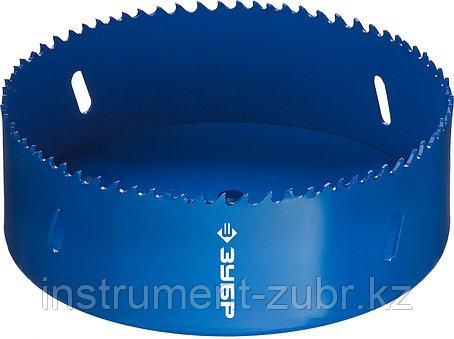 Коронка биметаллическая, быстрорежущая сталь, глубина сверления до 38мм, d-121мм, ЗУБР, фото 2