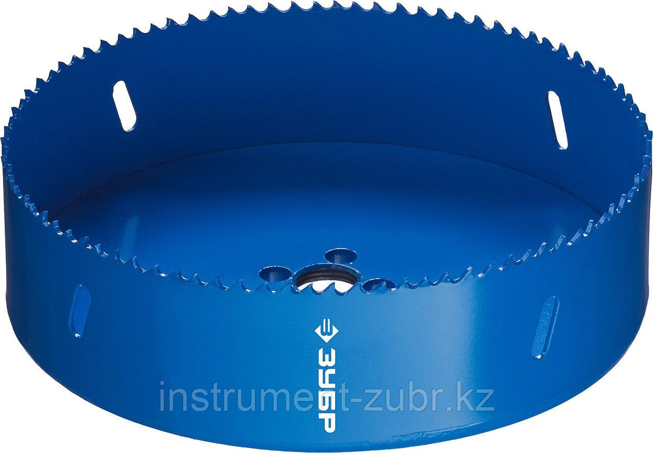 Коронка биметаллическая, быстрорежущая сталь, глубина сверления до 38мм, d-152мм, ЗУБР