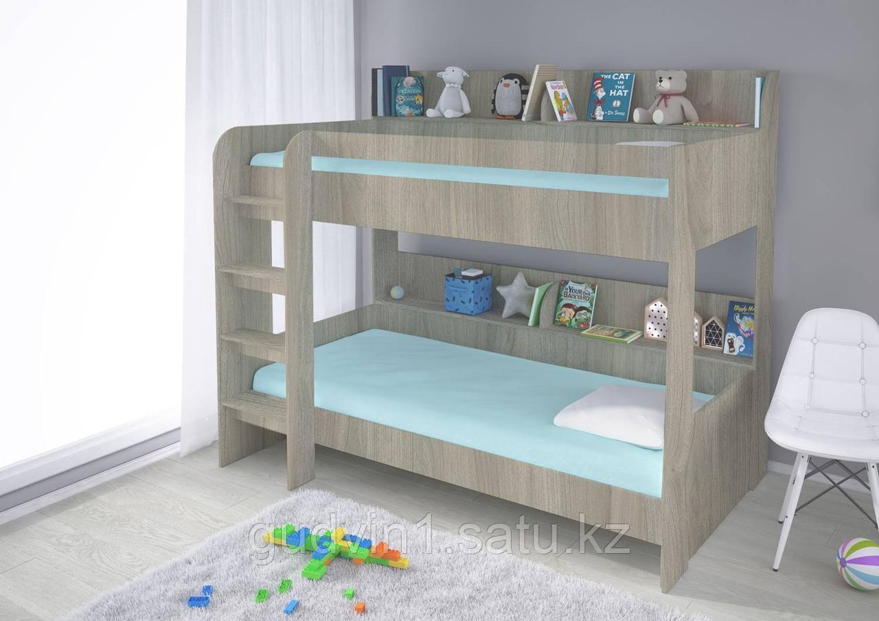 Кровать двух ярусная Polini Simple 5000 (вяз-белый), с полками 00-89527