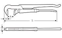 """Газовый ключ с губками под 90º  1"""" / 40mm SUPER-EGO 141, фото 2"""
