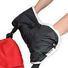 BAMBOLA Муфта для коляски шерстяной мех+плащевка+кнопки(лайт)  Черная