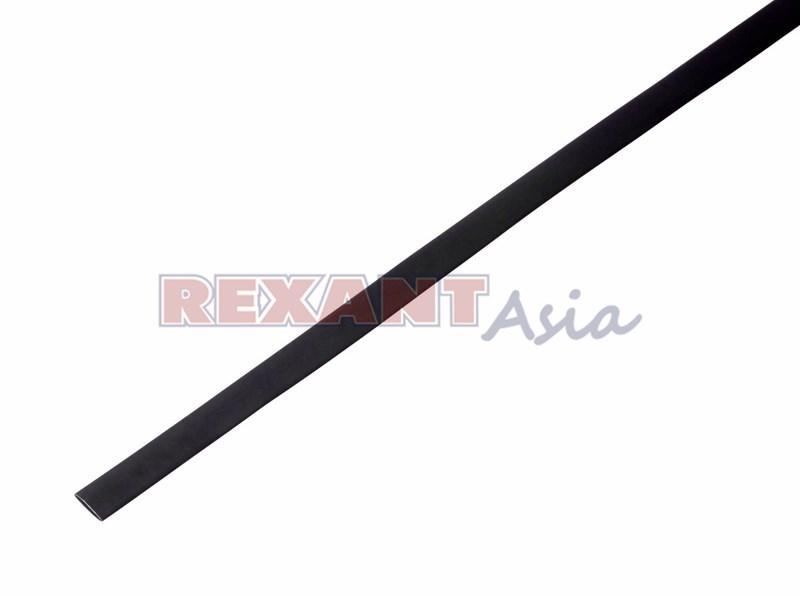 Термоусадка 5.0/2.5 мм, (2:1), 1м., черная, с подавлением горения, (уп 50 шт.)  REXANT (20-5006)