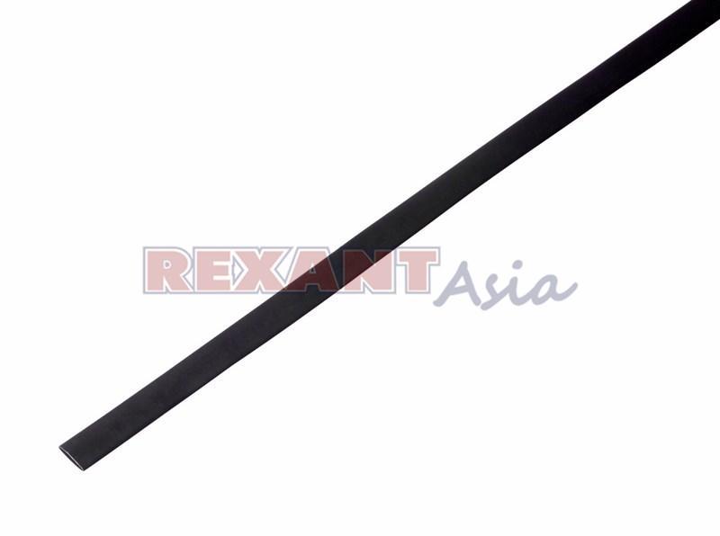 Термоусадка 6.0/3.0 мм, (2:1), 1м., черная, с подавлением горения, (уп 50 шт.)  REXANT (20-6006)
