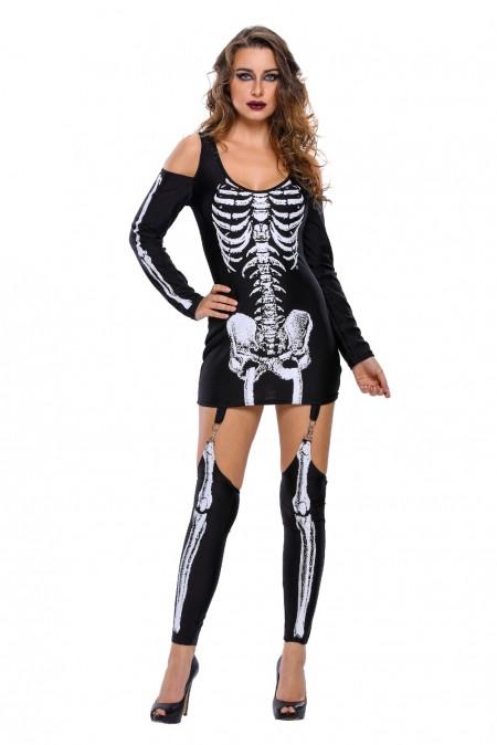 Платье на хеллоуин «Скелет» размер S