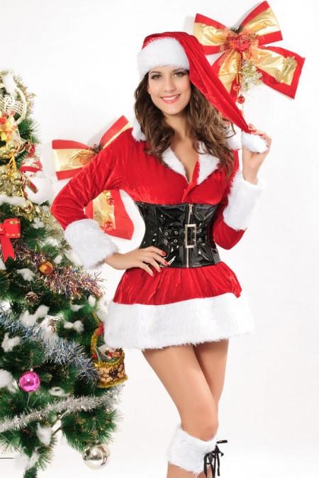 Новогоднее мини платье с корсетом (уценён)