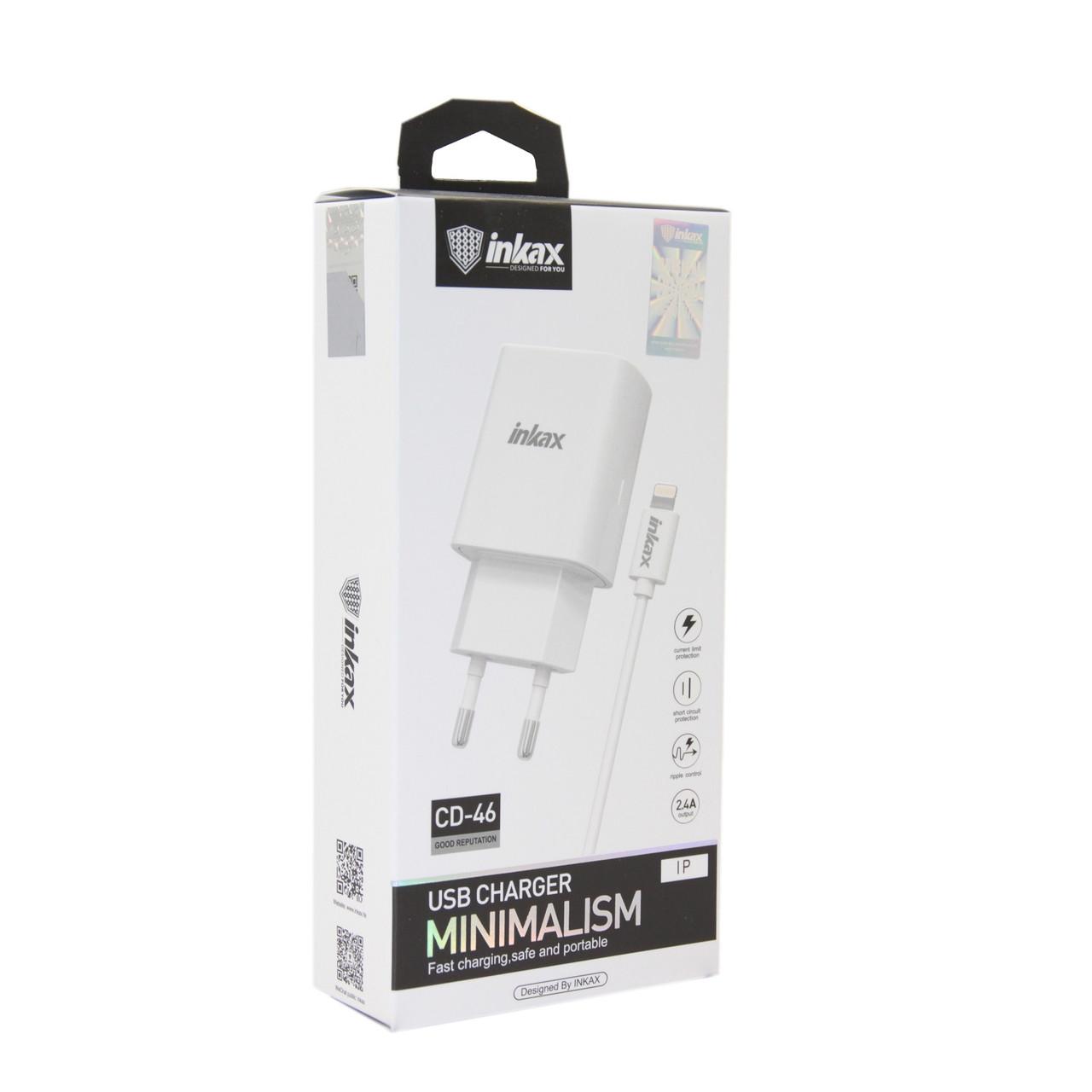 Зарядное устройство INKAX CD-46 Lightning USB 2.4A