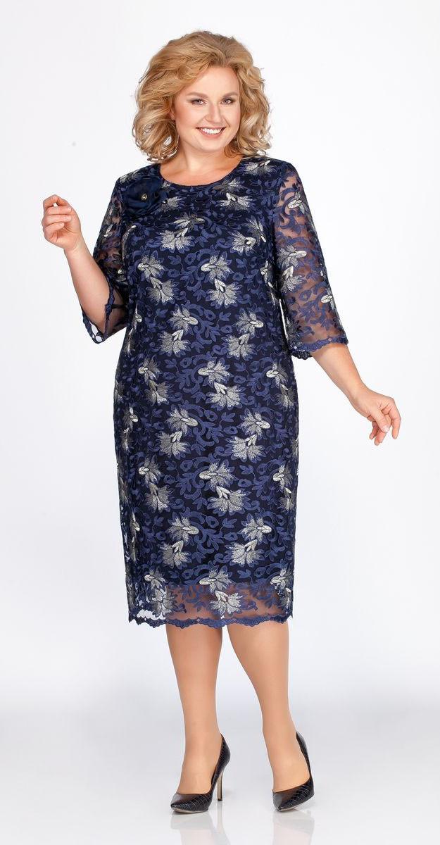 Платье Теллура-Л-1423, тёмно-синий, 54