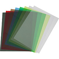 Обложки ПВХ А4, 0,18мм, кожа, прозр/зеленые (100)