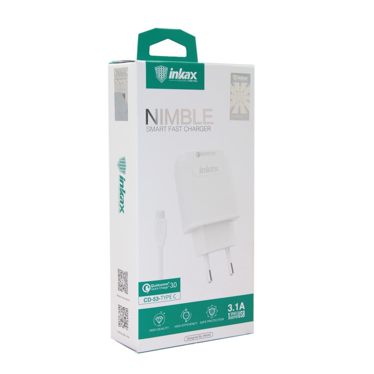 Зарядное устройство INKAX CD-53 Type-C USB 3.1A