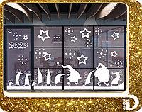 Новогоднее оформление витрин и перегородок