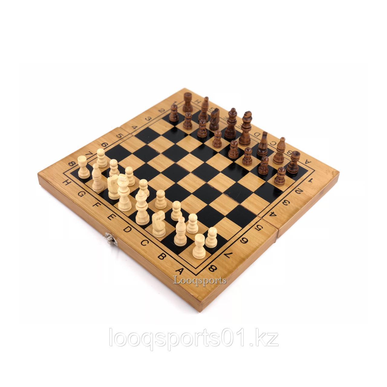 Шахматы, шашки, нарды деревянные 3в1