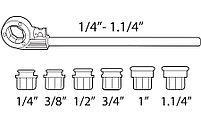 Ручной резьбонарезной набор PROMO 1/2'' - 3/4'' - 1'' - 1.1/4'' резьба BSPT SUPER-EGO 600, фото 2