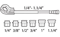 Ручной резьбонарезной набор COMPACT 1/2'' - 3/4'' - 1'' - 1.1/4'' резьба BSPT SUPER-EGO 600, фото 2