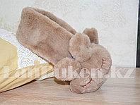 Меховые наушники зайчики с широким ободком коричневые