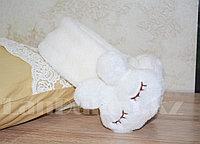 Меховые наушники зайчики с широким ободком белые