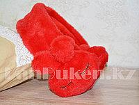 Меховые наушники зайчики с широким ободком красные