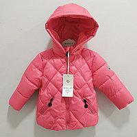 """Куртка осенняя """"Moncler"""" для девочек от 1 до 5 лет, коралловая., фото 1"""