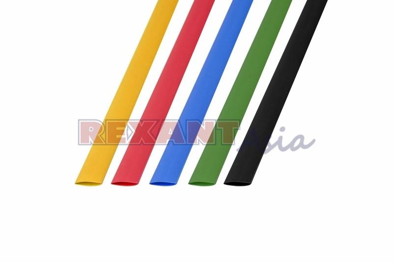 Набор термоусадочной трубки  8,0 / 4,0 мм 1м Пять цветов REXANT