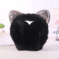 Меховые наушники складные кошки с блестящими ушками черные