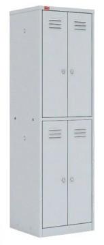 Шкаф для одежды двухсекционный на четыре ячейки (600х500х1860) арт. ШРМ24