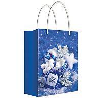 """Пакет подарочный новогодний 18*22,7*10см Русский дизайн """"Елочные украшения в синем цвете"""", ламинир."""