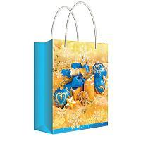 """Пакет подарочный новогодний 22*31*10см Русский дизайн """"Новогодние игрушки в золоте """", ламинир."""