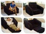 Кресло надувное 109х218х66 см, max 100 кг, Intex 68565, поверхность флок
