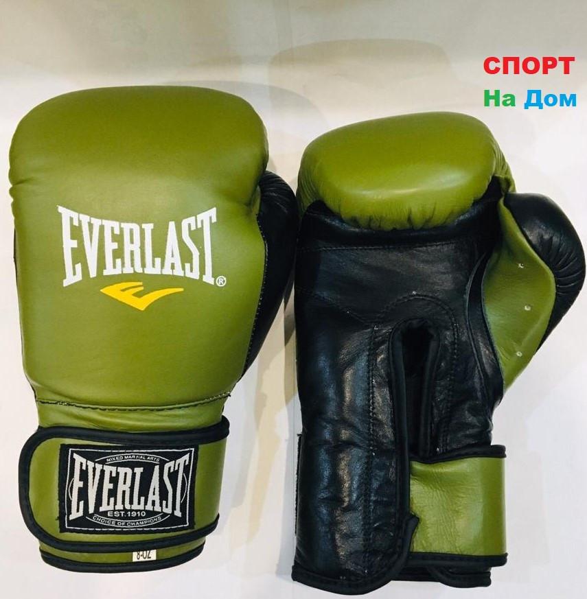 Перчатки для бокса и единоборств Everlast 8-OZ кожа (цвет зеленый)
