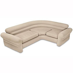 Диван угловой надувной 257х203х76 см, Intex 68575, поверхность флок