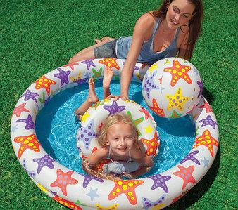Бассейн надувной детский с мячом и кругом Intex 59460NP