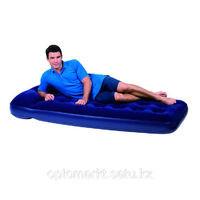 Матрас надувной односпальный 185х76х22 см, max 227 кг, Bestway 67223, поверхность флок, ножной насос