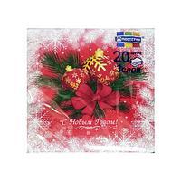 """Салфетки 33х33см, 3 сл., """"Новогодние шары на красном"""", Бумага, 20 шт"""