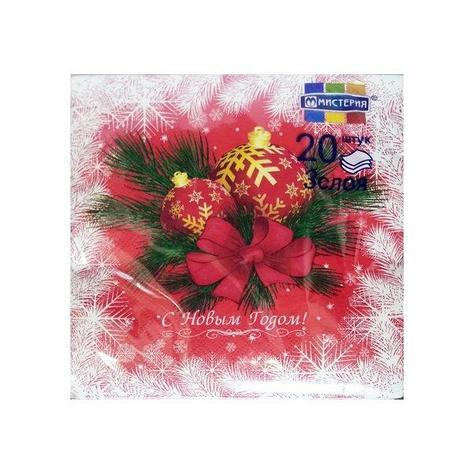 """Салфетки 33х33см, 3 сл., """"Новогодние шары на красном"""", Бумага, 20 шт, фото 2"""