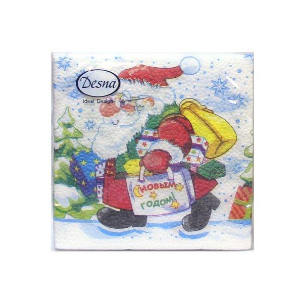 "Салфетки 25х25см, 1 сл., ""Дед Мороз с подарками"", Бумага, (40л), 40 шт"