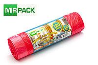 """Пакет  с завязками 120л, 10 шт/рул """"VIP"""", ПНД, 15 мкм, размер 75*80 см, красные, фото 1"""