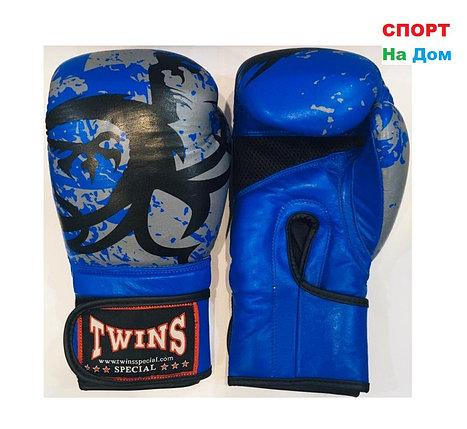 Перчатки для бокса и единоборств Twins 10-OZ кожа (цвет синий), фото 2