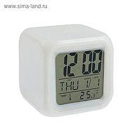 Будильник LuazON LB-03, дата, температура, белый