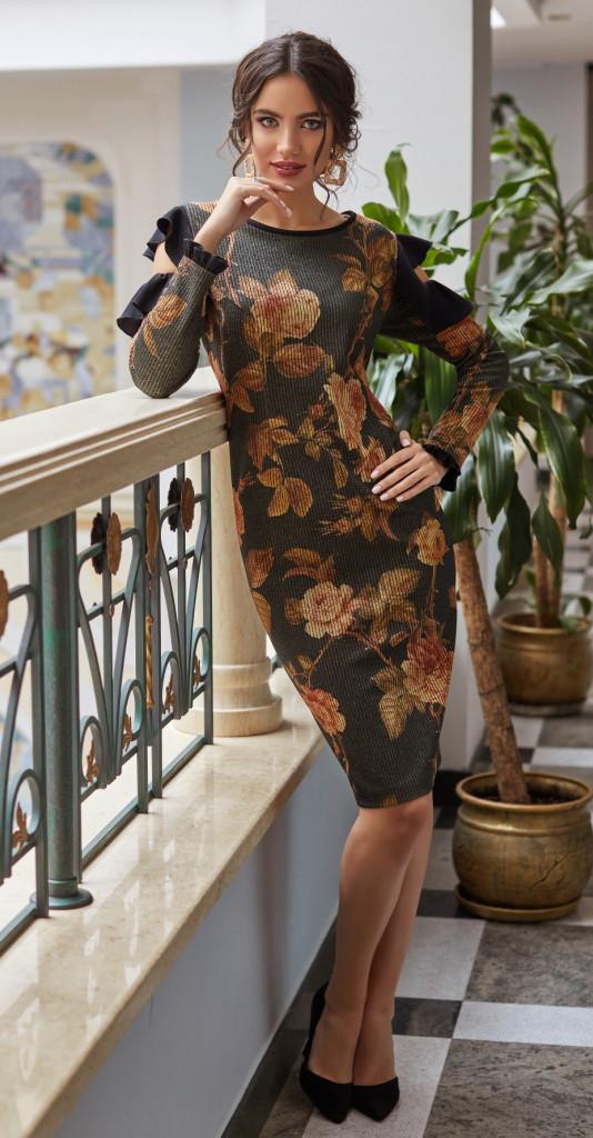 Платье Lissana-3867, черный в цветы, 50