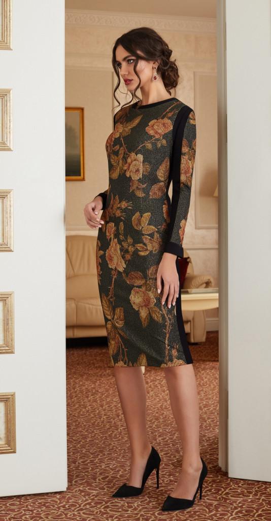 Платье Lissana-3871, черный в цветы, 50