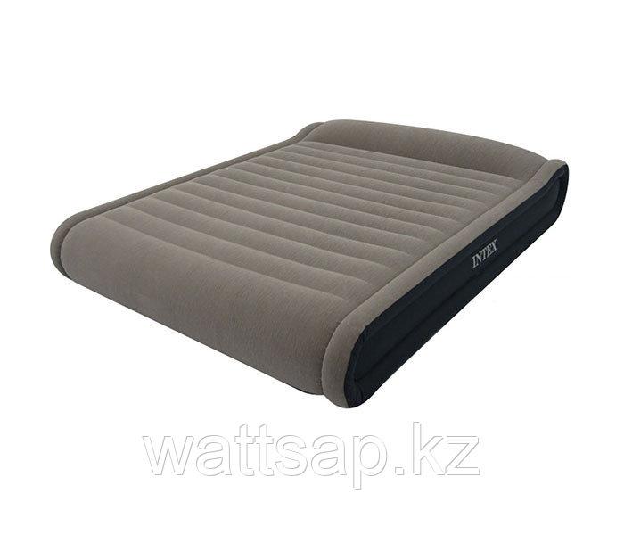 Кровать надувная двуспальная 203х152х41 см, max 245 кг, Intex 67726, поверхность флок, электронасос