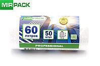 "Мусорный пакет 60л, 50 шт/рул ""PROFESSIONAL"", ПНД, 7 мкм, размер 60*80 см, прозрачный, фото 1"