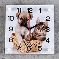 """Часы настенные """"Щенок с котенком"""""""