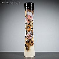 """Ваза напольная """"Кубок"""", цветы, чёрно-белая, керамика, 71 см, микс"""